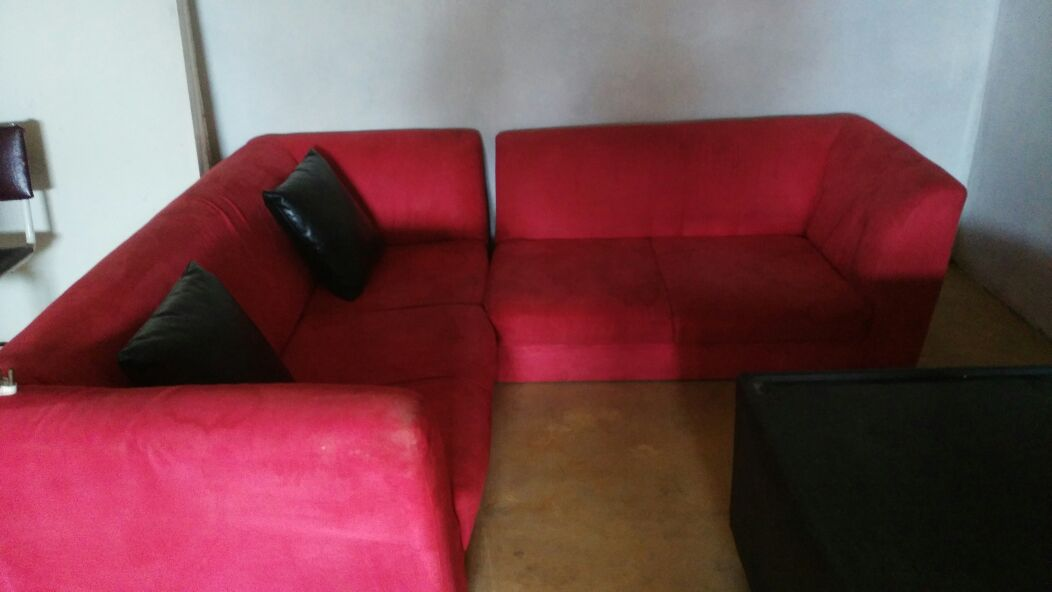 L shape Red Couches