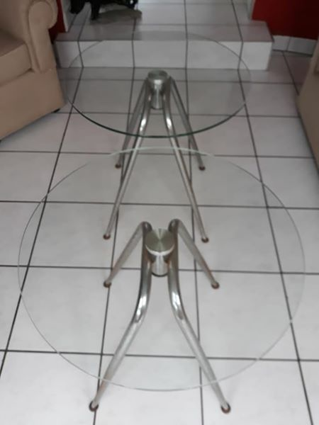 Round Glass top side tables for sale