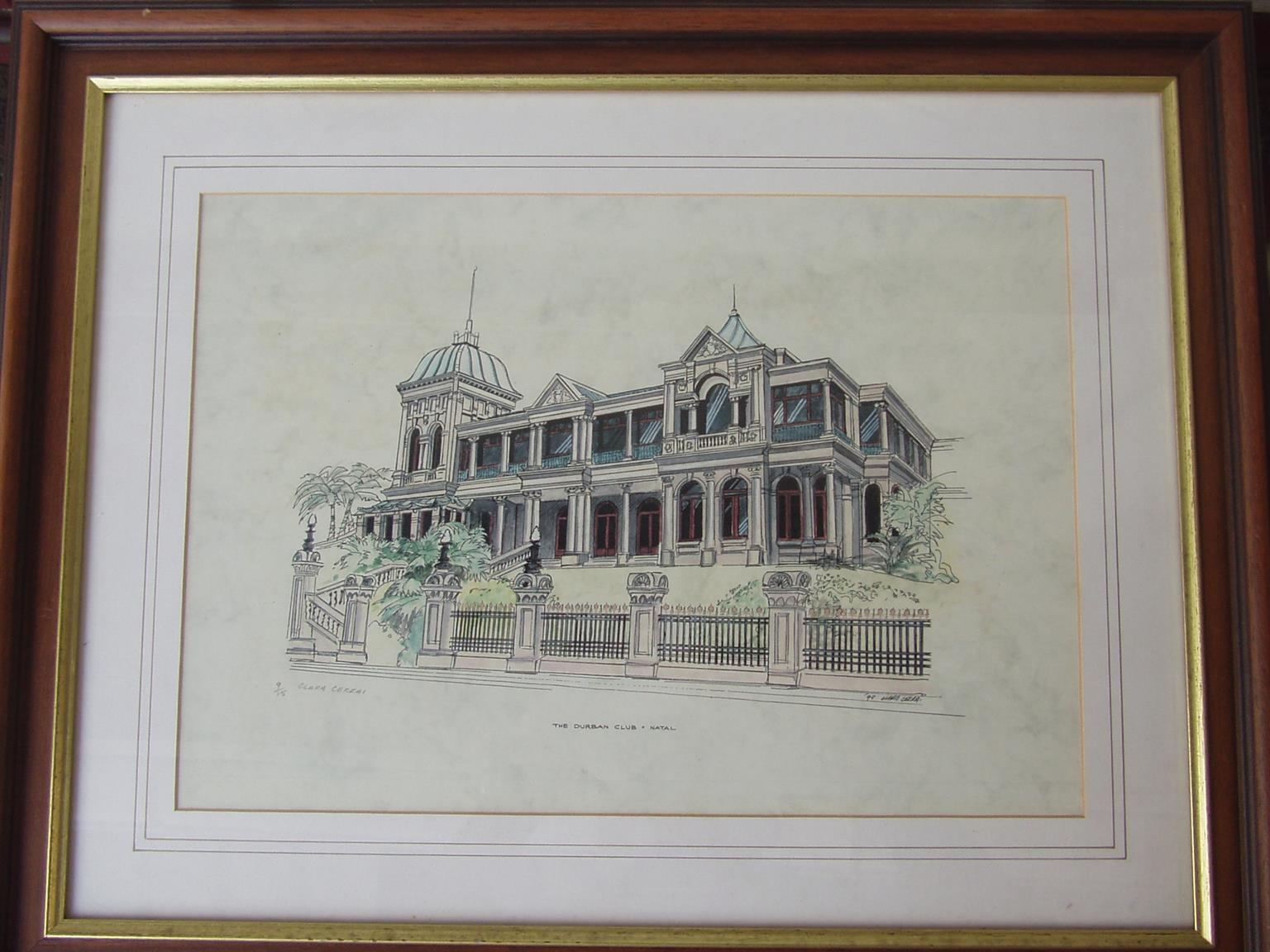 Durban Club - Framed Sketch by Clara Cerrai   - in excellent condition