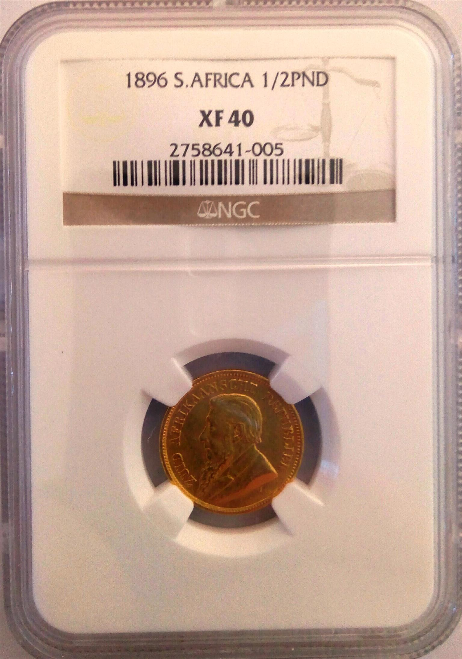 NGC Graded 1896 Halfpond XF40 - Hern's 2014 book value is R25000 - Selling for R10000