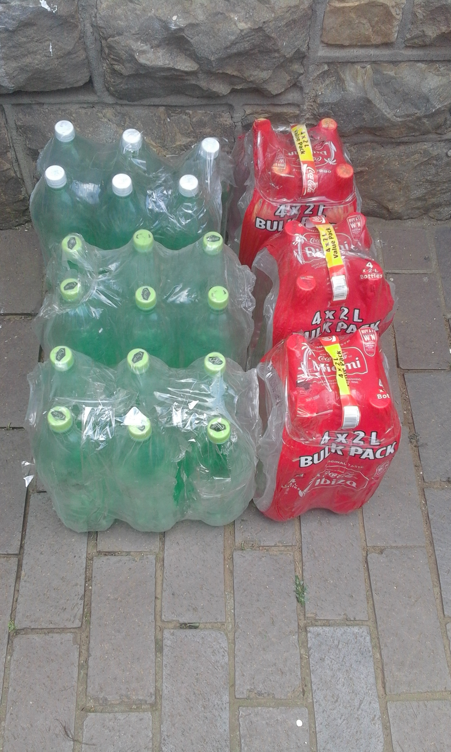 Cola Plastic Bottles 2l. Used and empty.Clean and dry on inside. Clear or Green. Approximately 1000 available. R3 each .