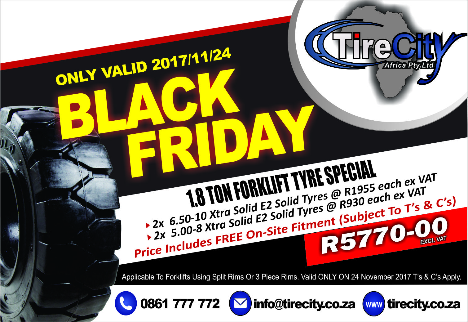 Forklift solid tyre sale in Cape Town - Black Friday Only Promotion