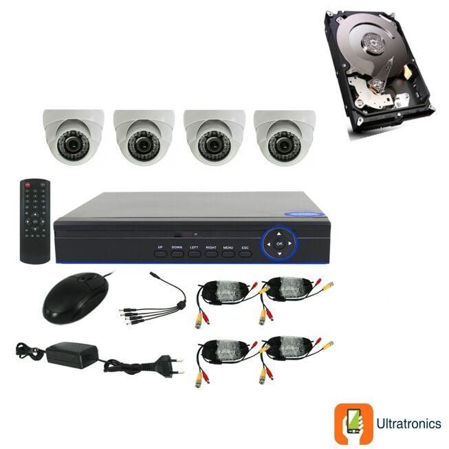 Full HD AHD CCTV Kit - 4 Channel CCTV DIY camera system - 4 Dome Cameras plus 500 GB Hard Drive