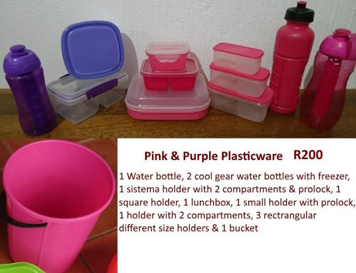 Pink and purple plasticware