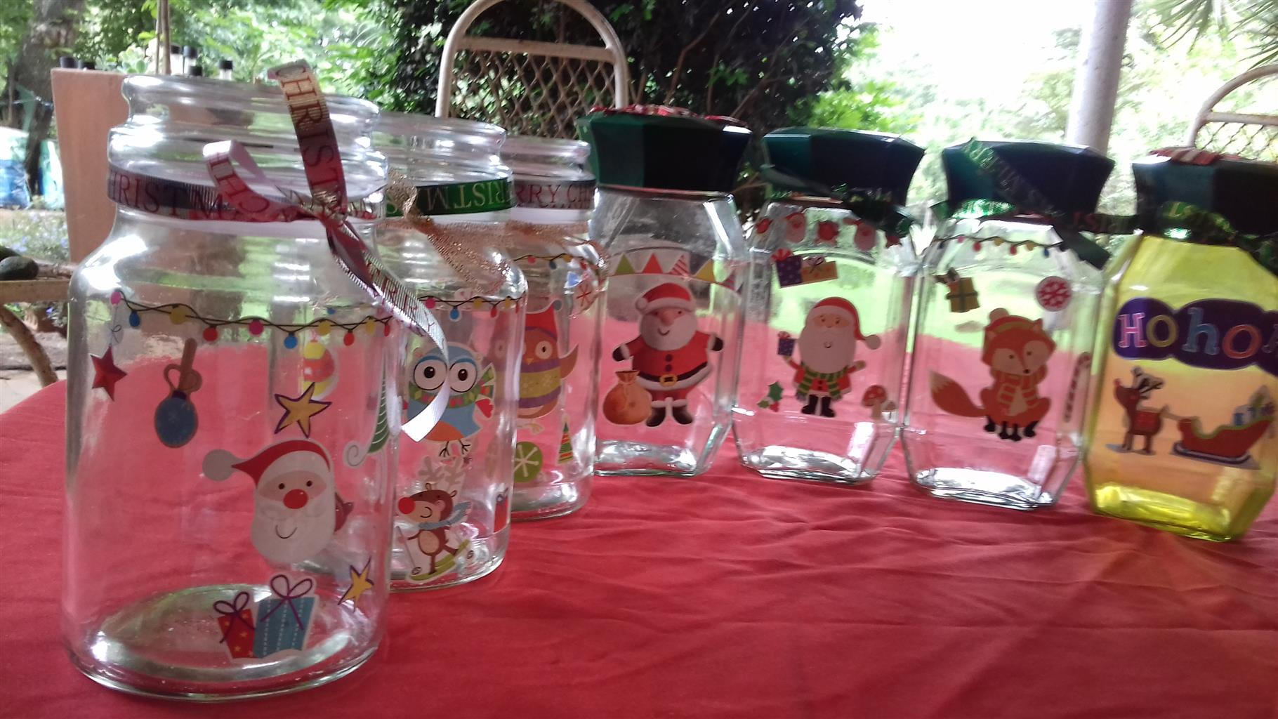 Beautiful xmas decorated bottels for sale