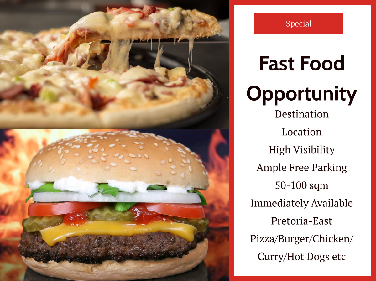 Fast Food Retail Space Available in Pretoria-East