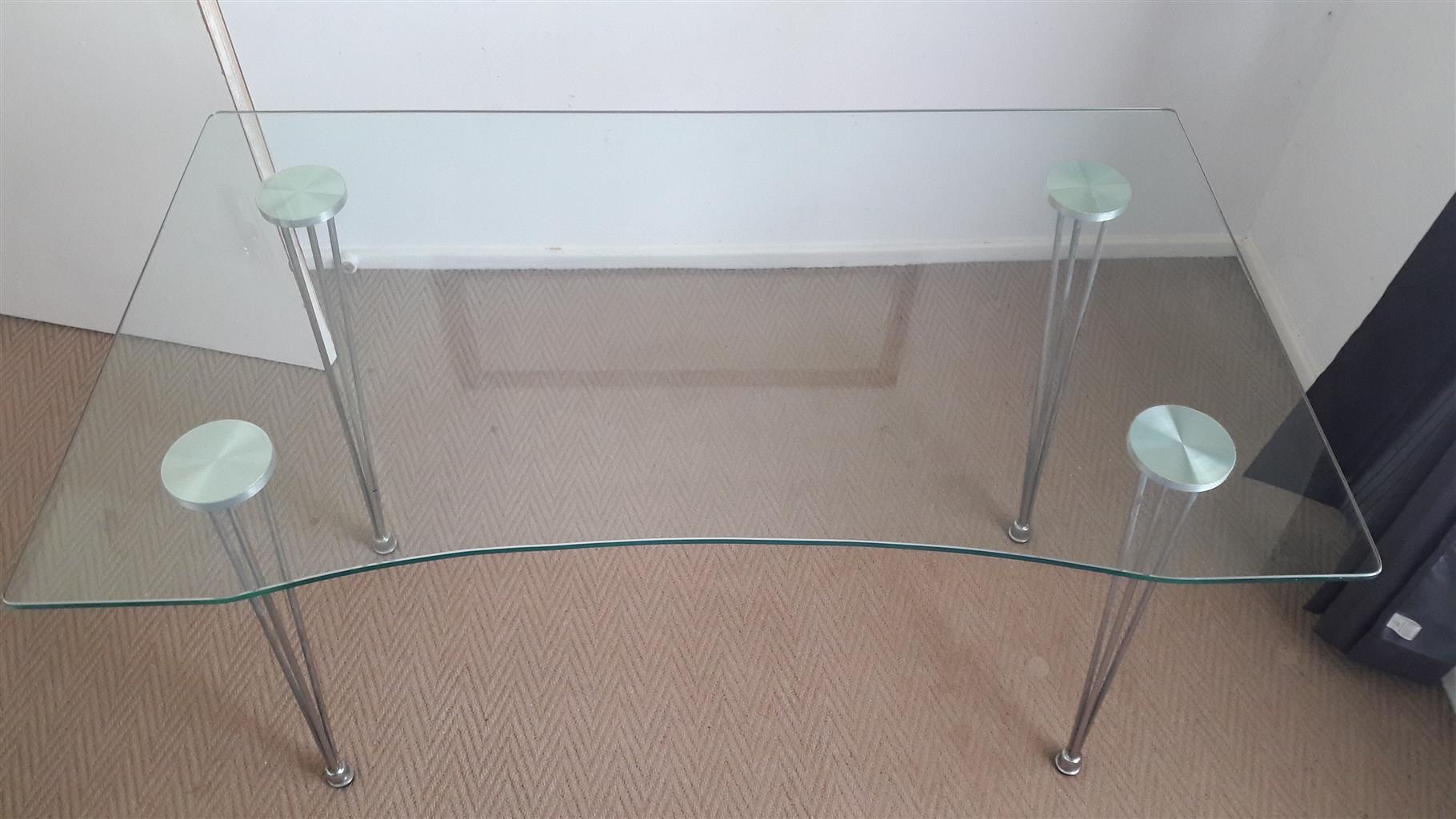 Glass desk with stainless legs