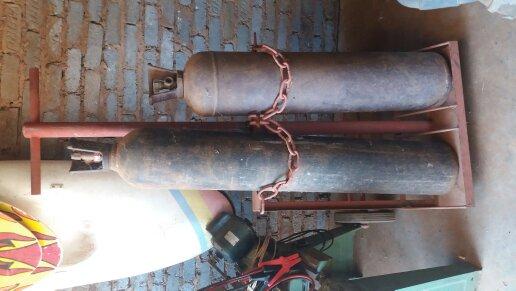 Oxygen accetalene gas bottles with trolley