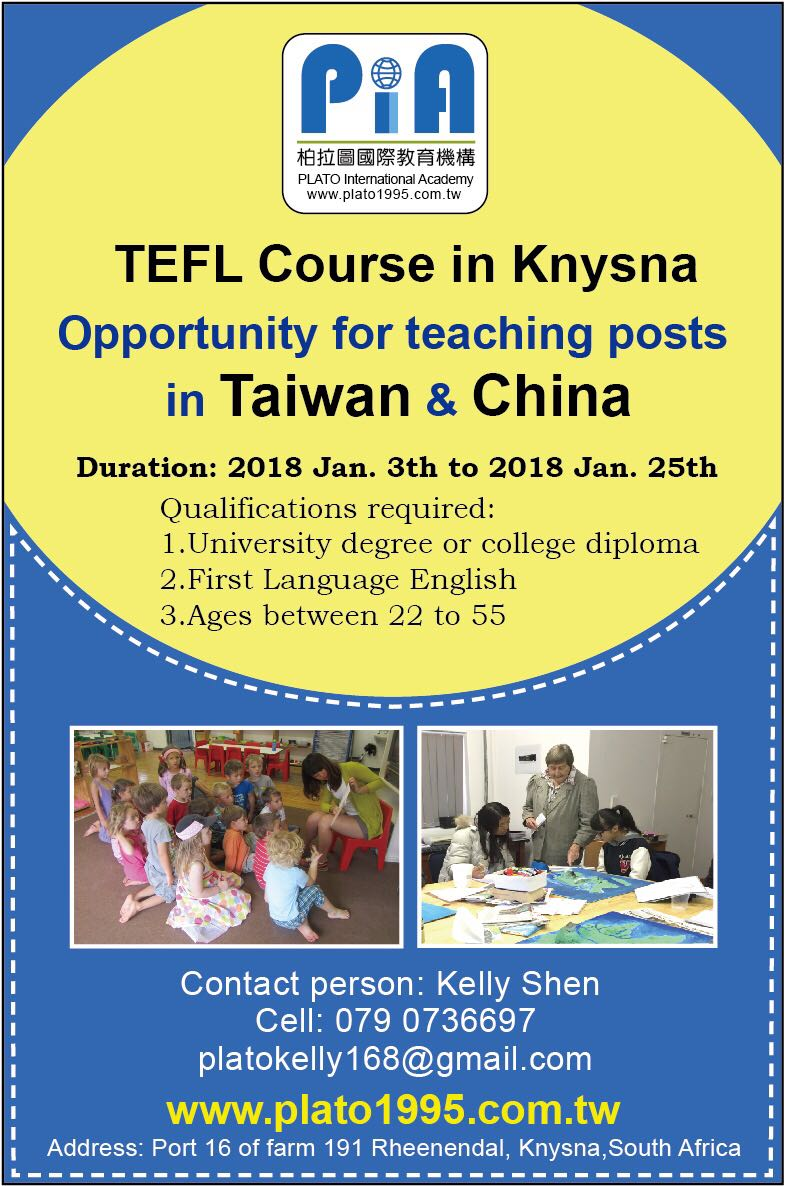 TEFL Course To Be Held In Knysna With Possible Placement In Positions In Taiwan and China
