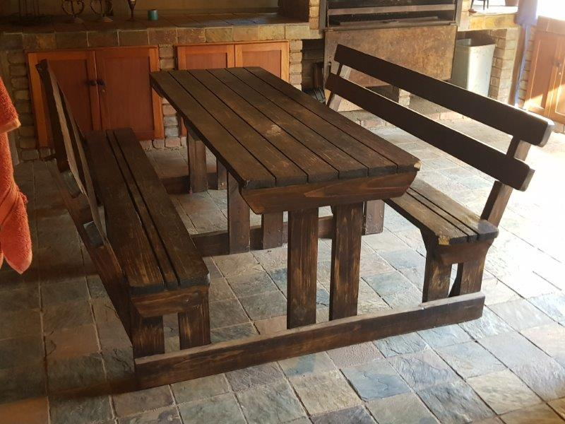 8 Seater Wood Bench with back rests