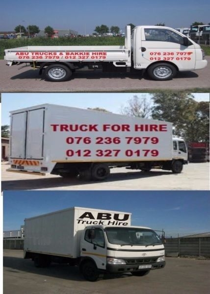 Closed truck & bakkies for hire 076 236 7979