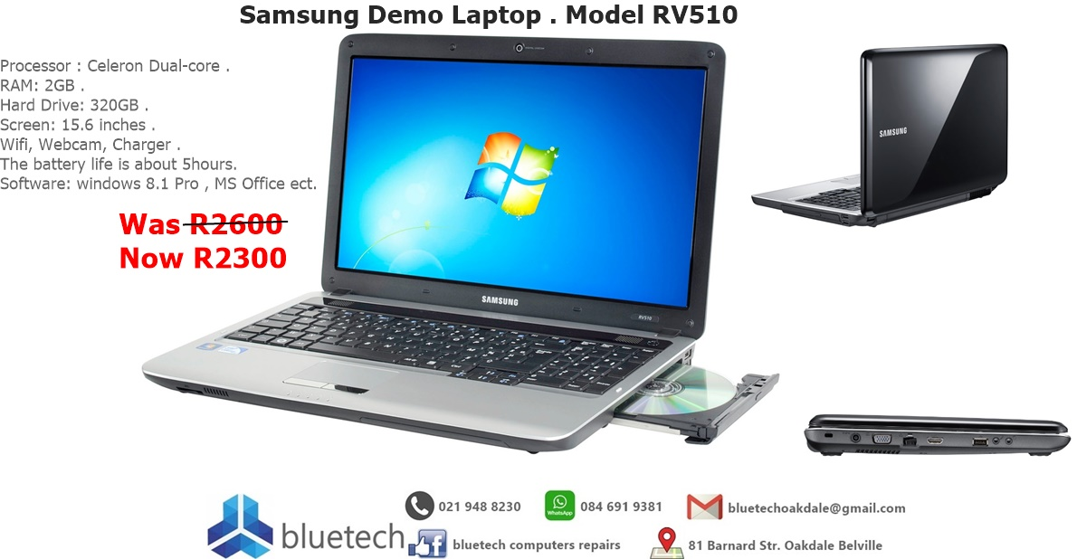 Samsung RV510 DEMO Laptop. Perfect condition for Sale. Bluetech Computers
