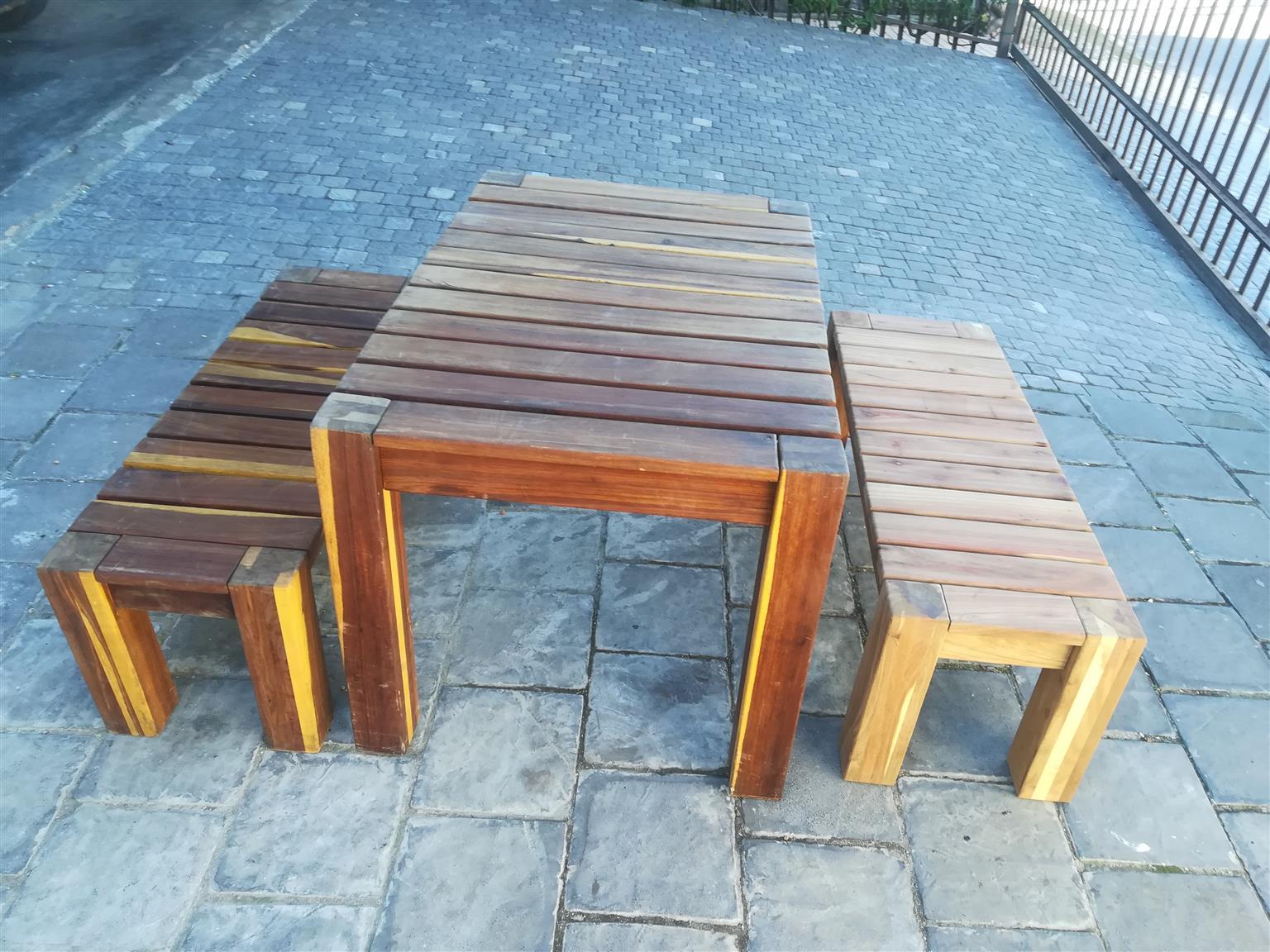 Teak patio set