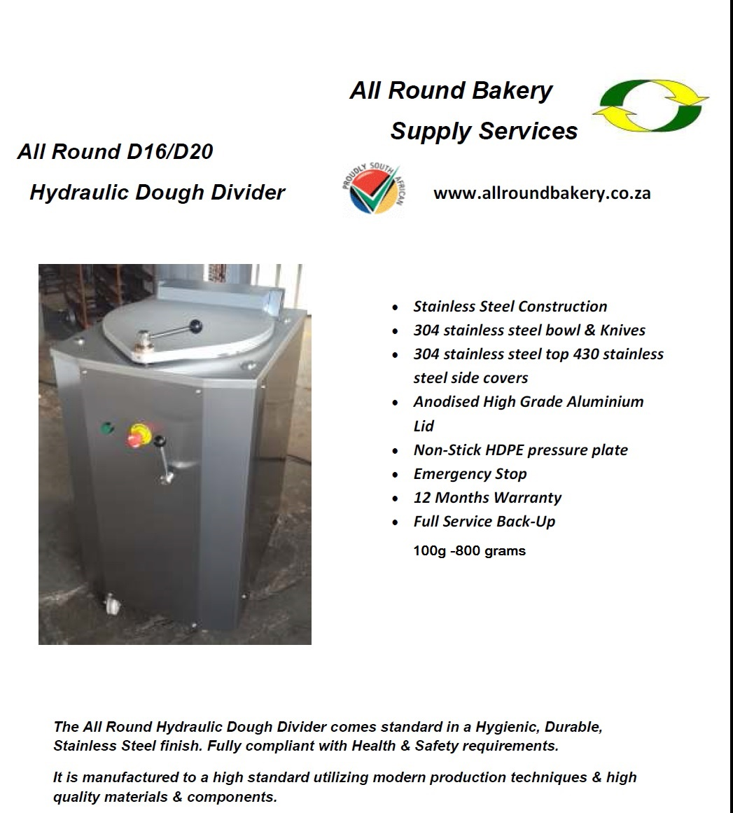 HYDRAULIC DOUGH DIVIDER DEMO MODEL STAINLESS STEEL.