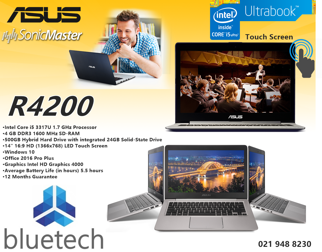 ASUS S400C 14-Inch TouchScreen Laptop Core i5 - 4GB ram - 500GB HHD. Bluetech
