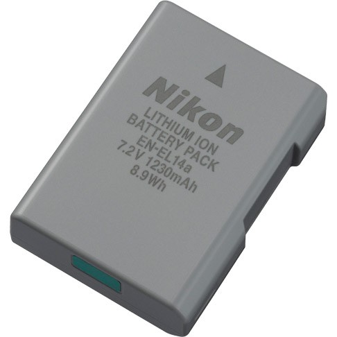 Nikon EN-EL14A Rechargeable Li-ion Battery - works for most Nikon DSLR's - see list below