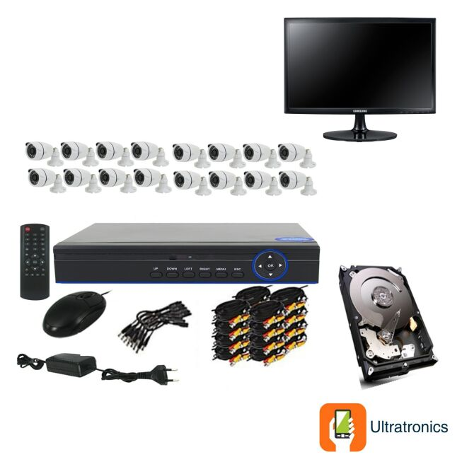 Full HD AHD CCTV Kit - 16 Channel CCTV DIY camera system - 16 Bullet Cameras plus 500 GB Hard Drive and Monitor