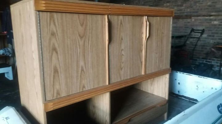 3 Door wooden cabinet with shelf
