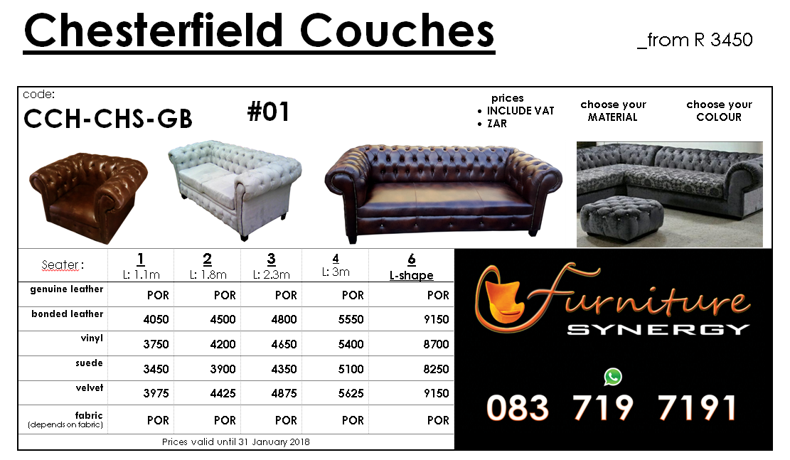 NEW Chesterfield Couches from R3450