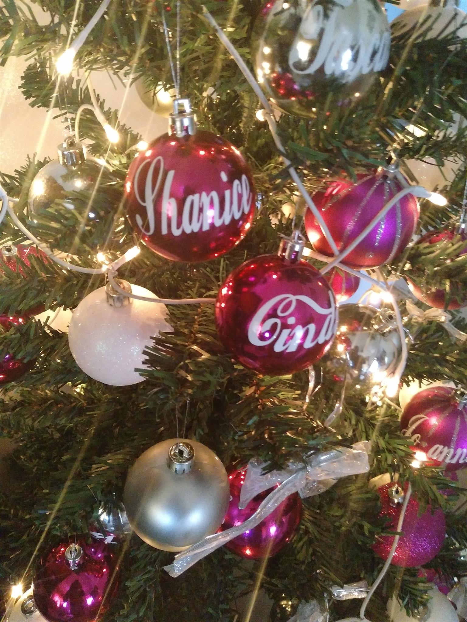 Christmas Bauble Personalized NAME Kiss-Cut Stickers