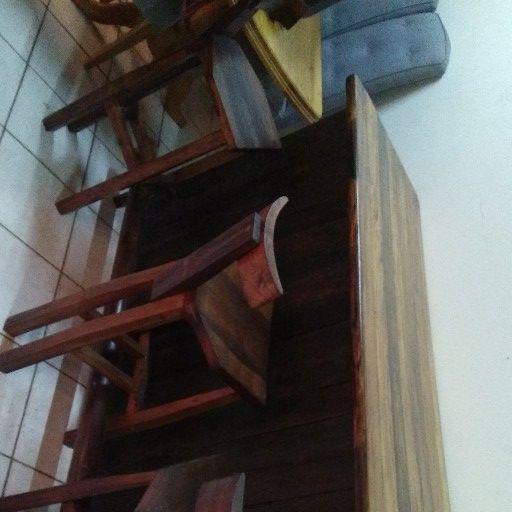 Sleeper Wood Bar and 3 Sleeper wood Bar Stools