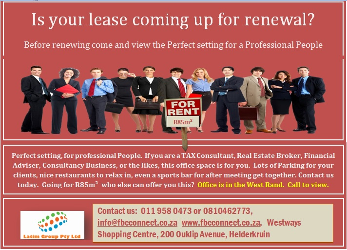 Office space @ R85 p.m² in the West Rand