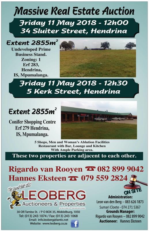 Undeveloped Prime Business Stand on Auction - 11 May 2018 at 12h00 - Hendrina