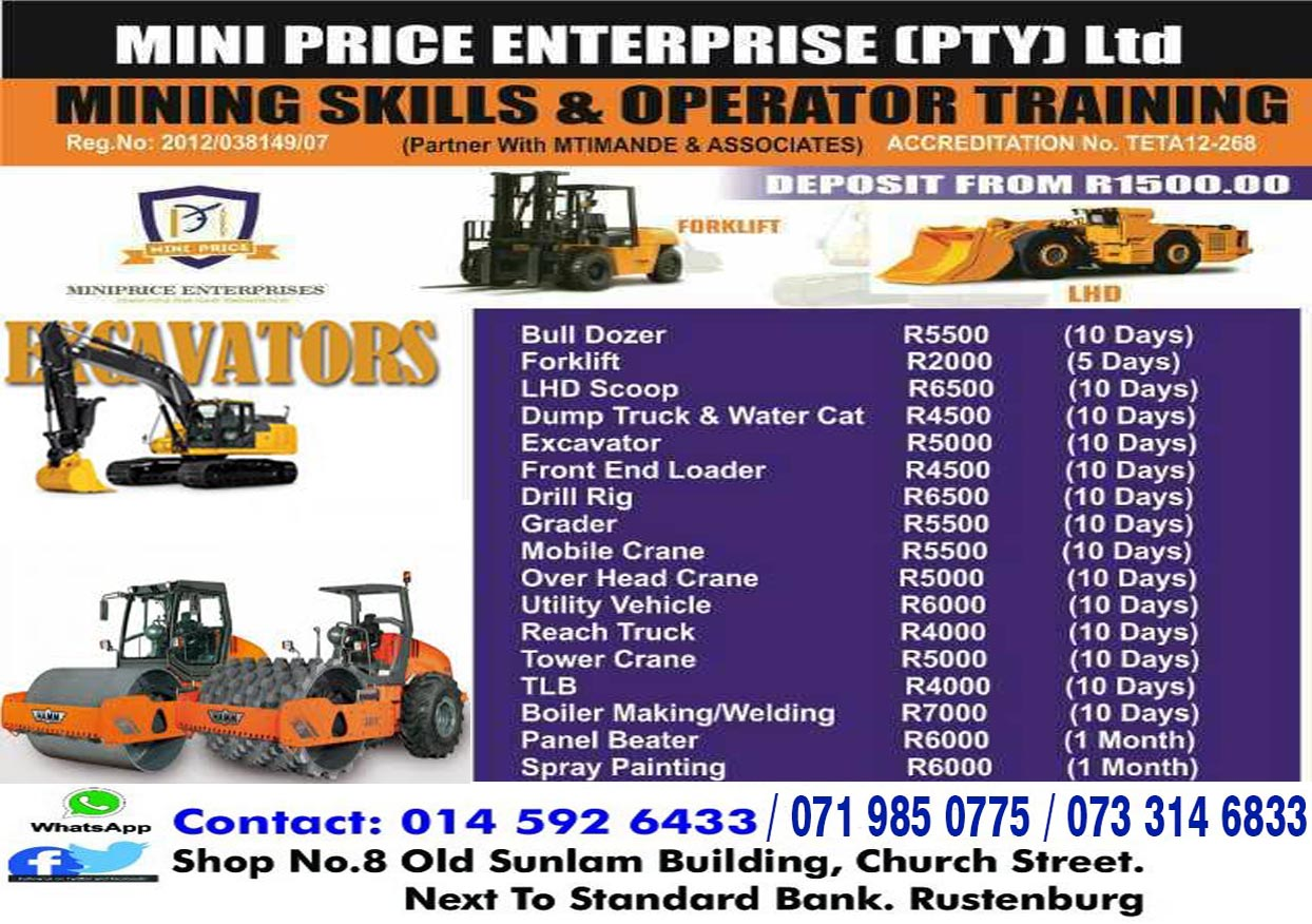 10 days 777 Dump truck Grader training theory &  practicals LHD scoop Drill rig training 0733146833. Brits