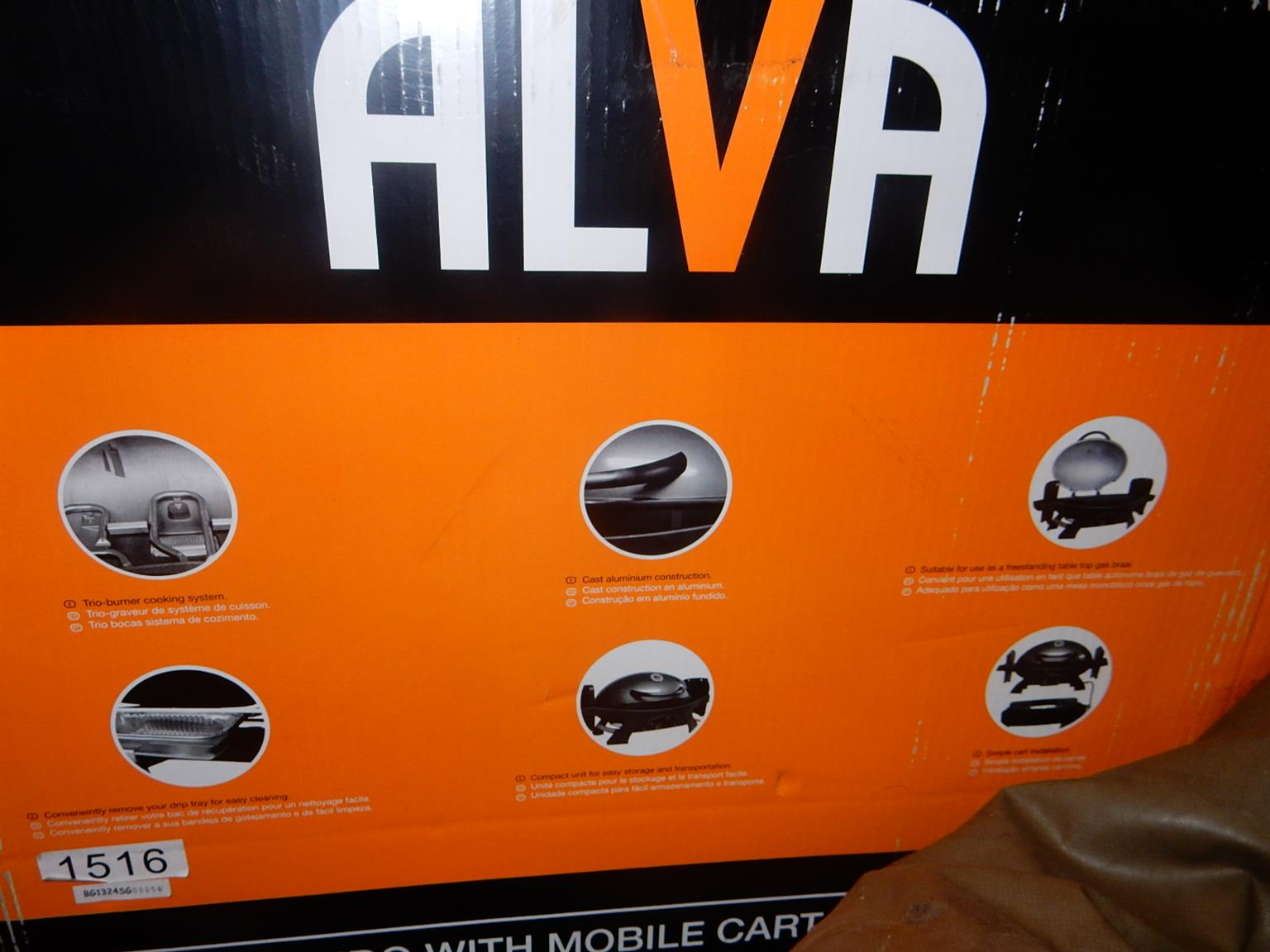 Alva 3 Burner Gas Mondo Mobile Cart