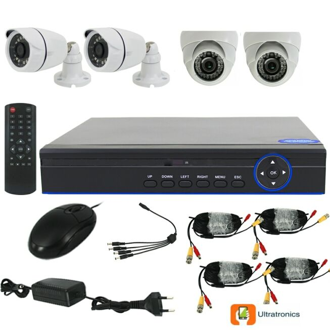 Full HD AHD CCTV Kit - 4 Channel CCTV DIY camera system - 2 Dome and 2 Bullet Cameras