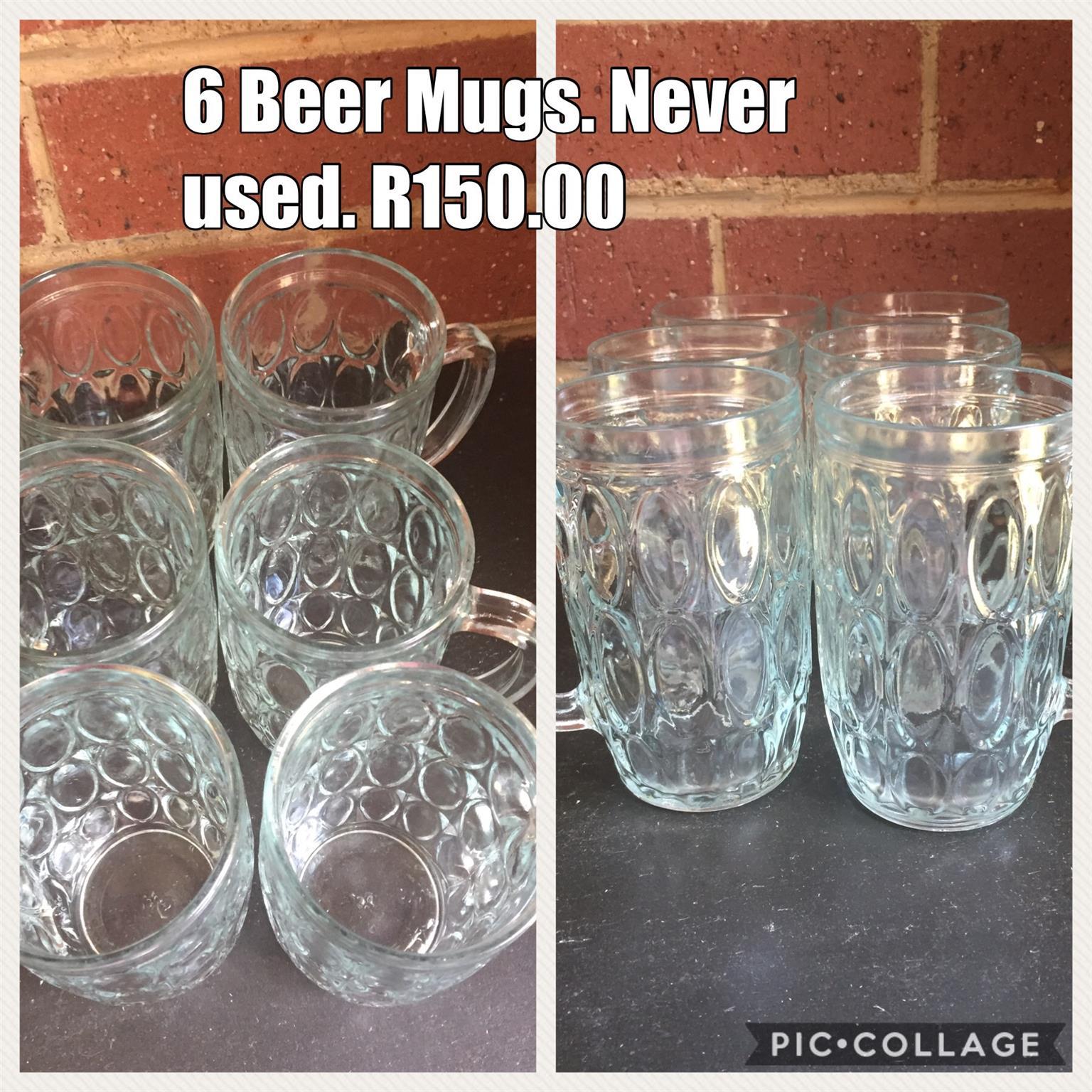 6 Beer mugs - Unused R 150.00 NEG