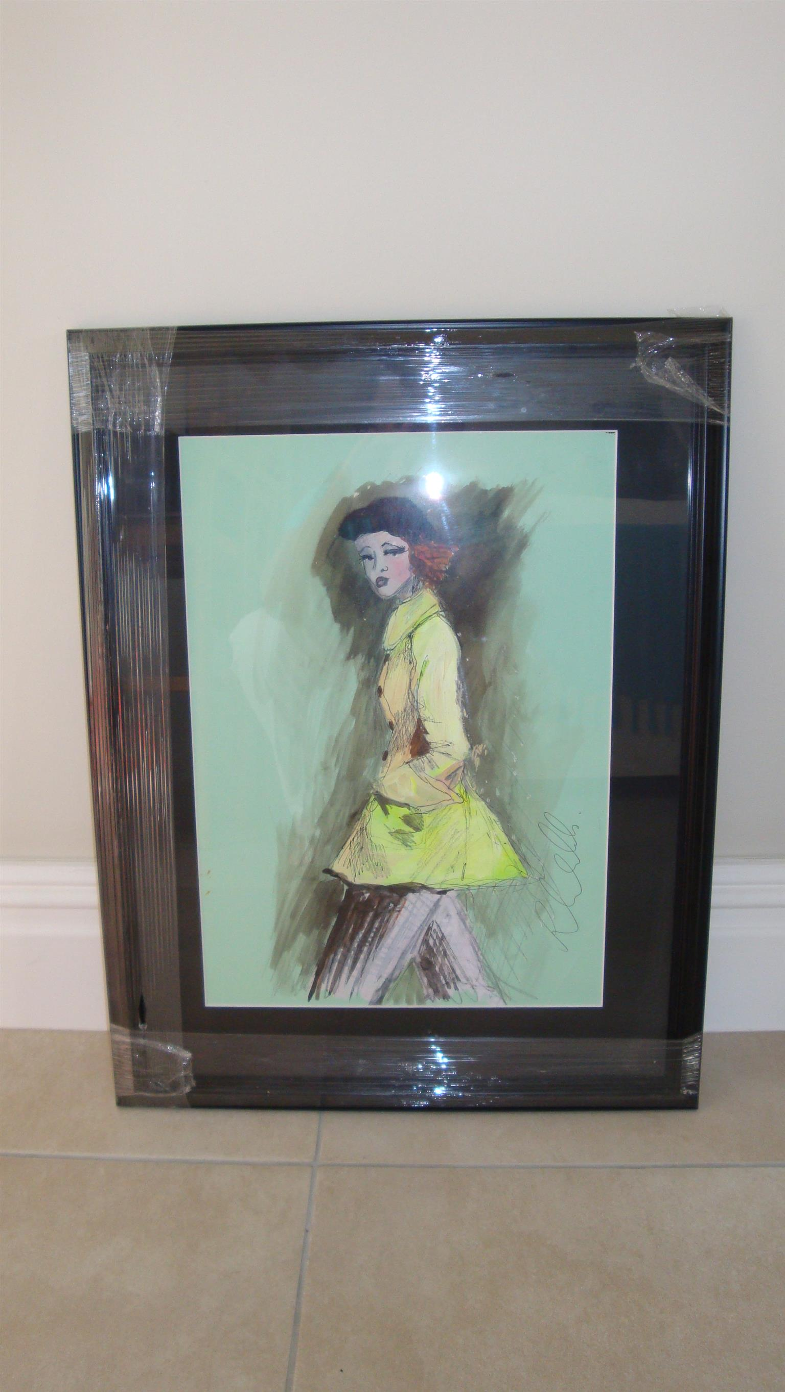 Affordable, original and framed art by Irish artist Ros Webb - girl in yellow jacket