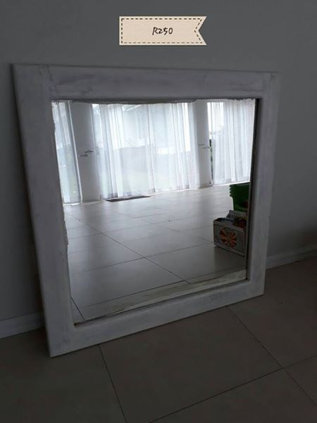 Gray framed mirror