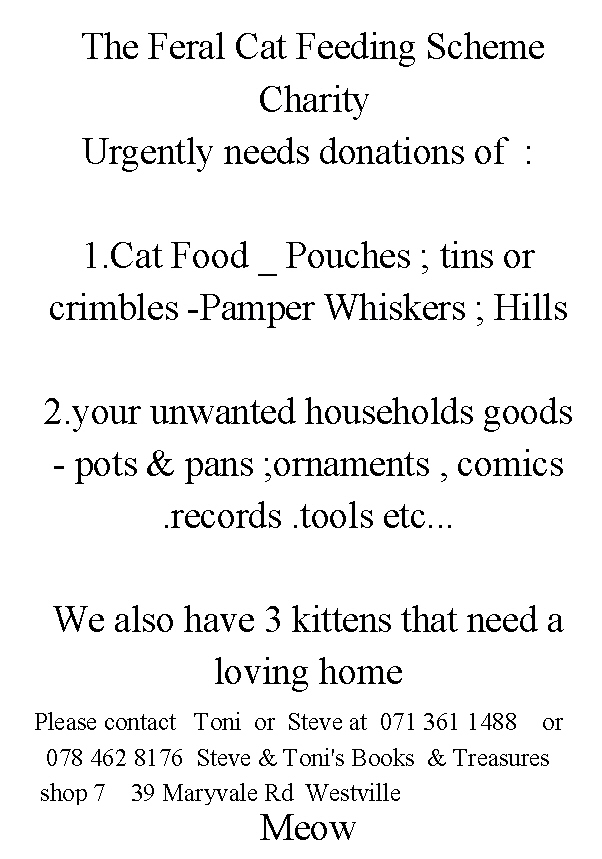 Donations of household goods needed - Meow