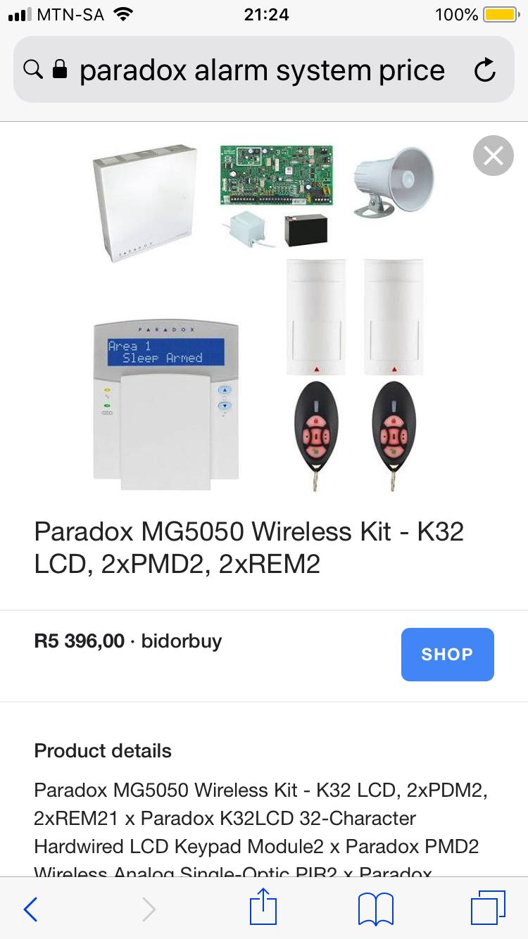 Paradox alarm system with 17 wireless