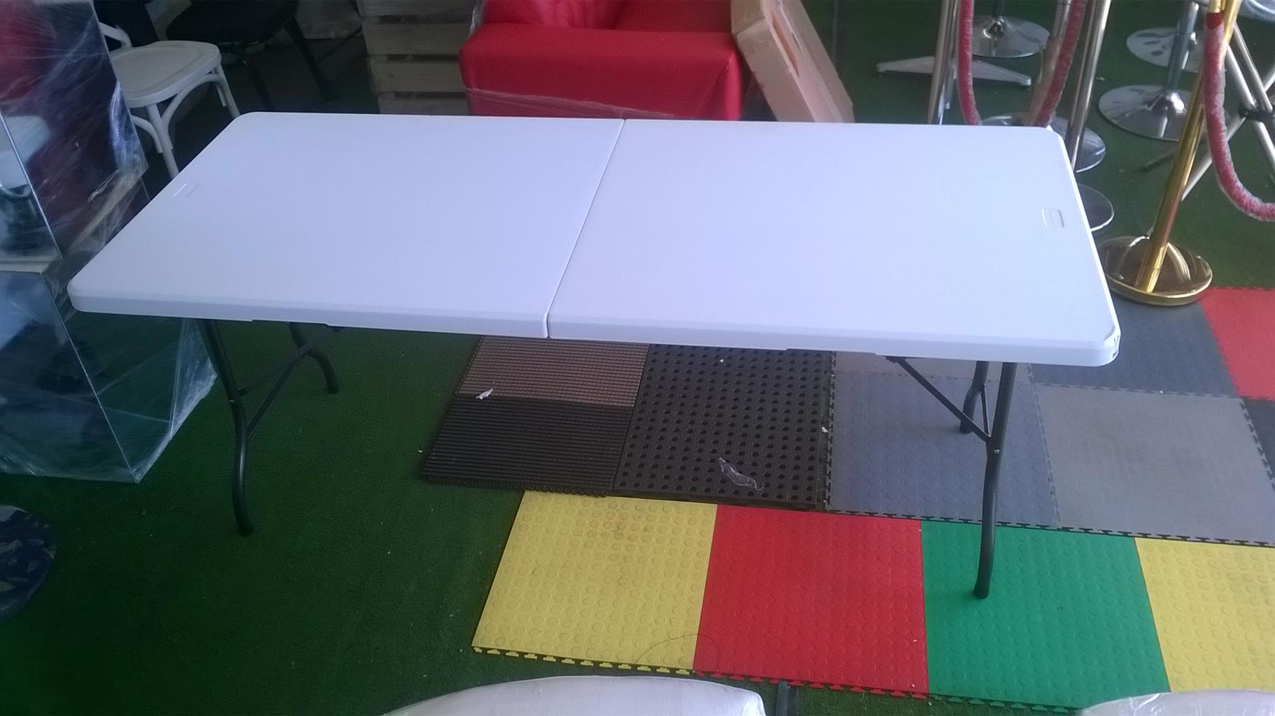TABLE - RECTANGLE 1.8m PLASTIC FOLD UP FOR SALE AT A BARGAIN PRICE