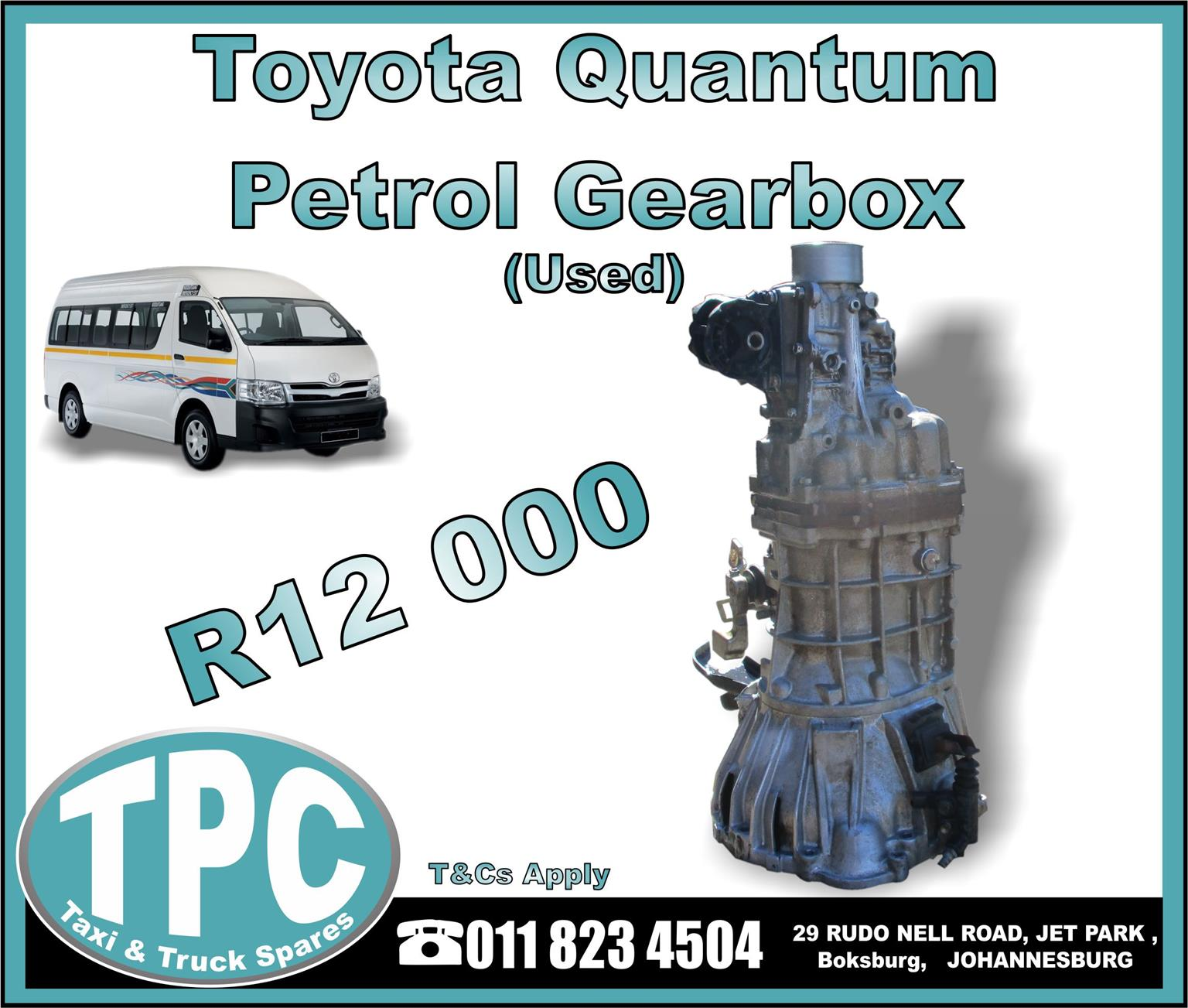 Toyota Quantum Petrol Gearbox - Used - New And Used Quality Replacement Taxi Spare Parts - TPC.