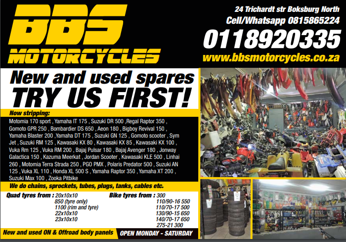 Boksburg Bike Scrapyard new and Secondhand spares and workshop. BBS Motorcycles corner Trichardt road & 8th Str Boksburg North 0815865224 or 0118920335