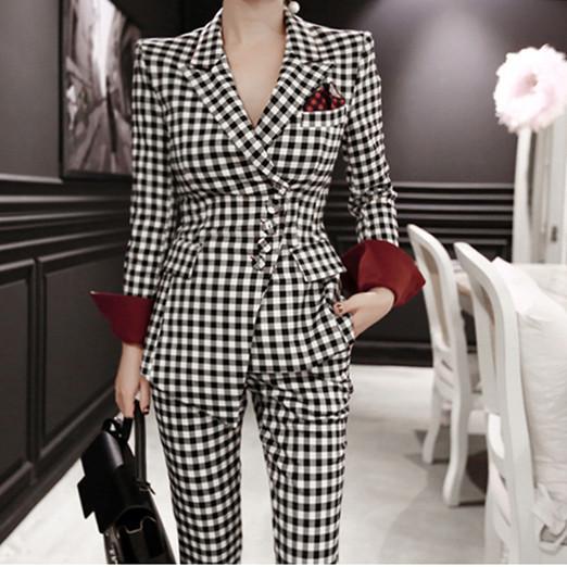 Office Lady 2 Piece Set (Irregular Blazer + Pencil Long Pants) S-XL