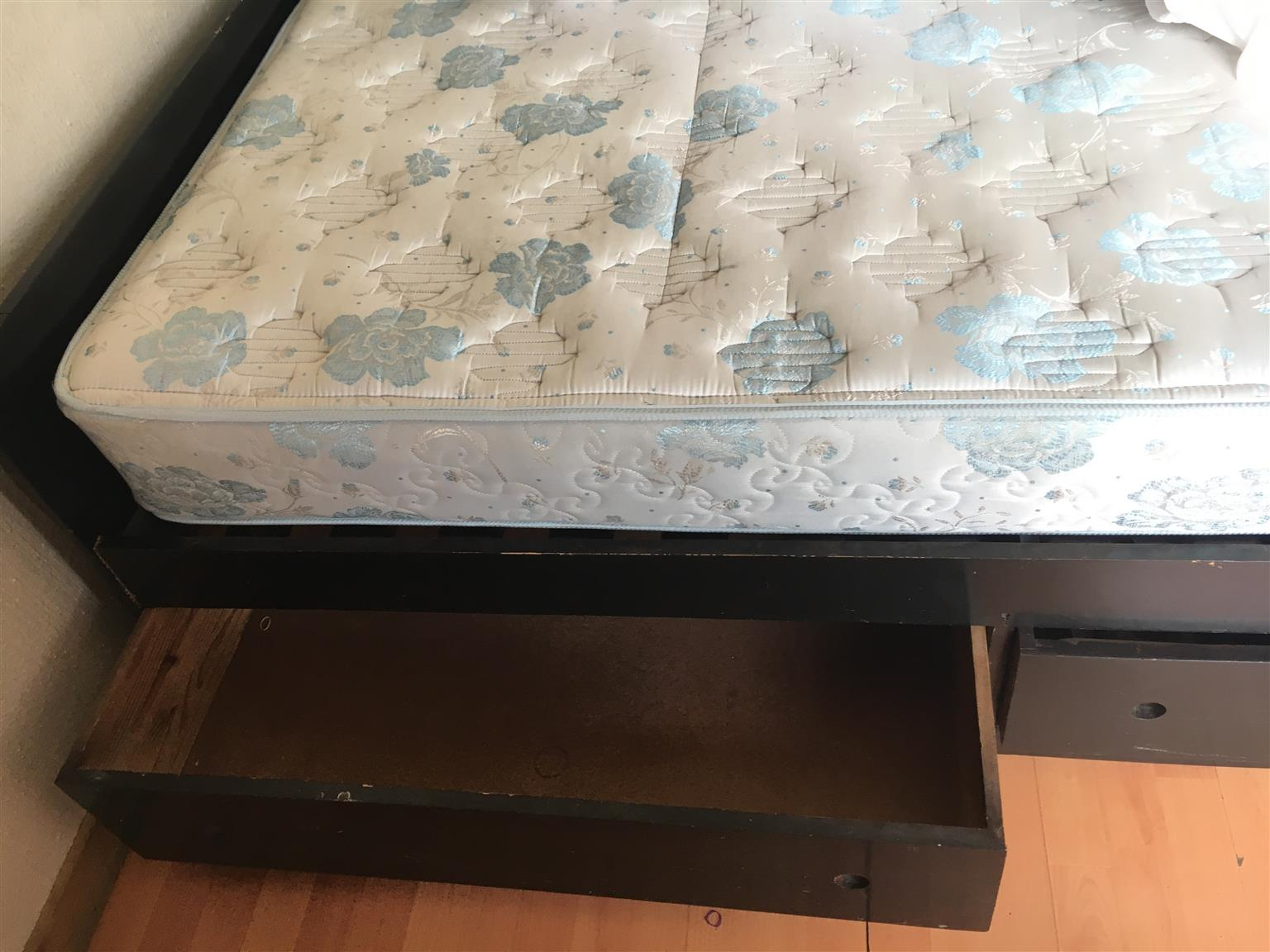 Double bed and mattress with wooden base-4 storage drawers
