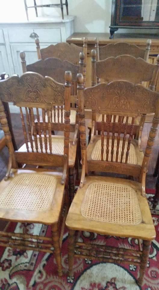6 Antieke hout stoele