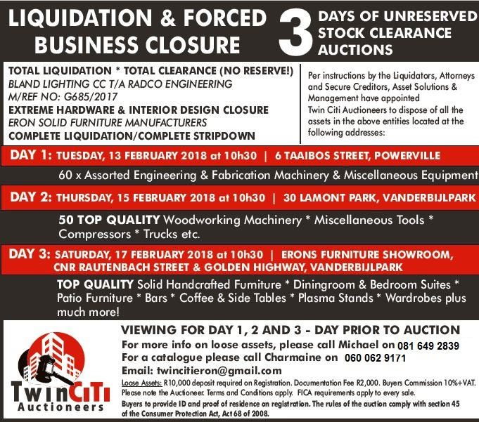 LIQUIDATION AND FORCED BUSINESS CLOSURE AUCTIONS. Three days only!