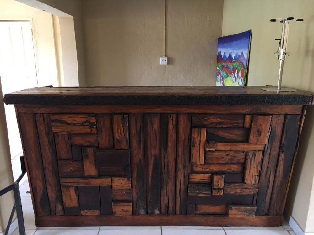 SOLID SLEEPER WOOD BAR AND CHAIRS
