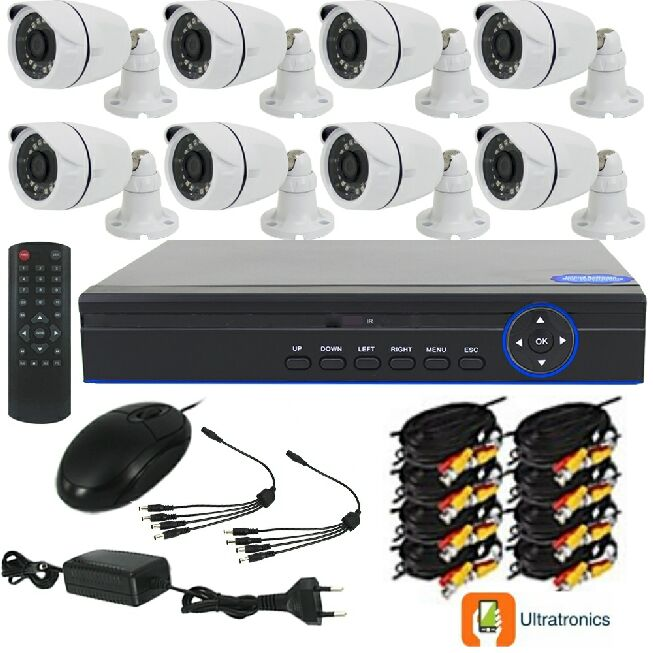 Full HD AHD CCTV Kit - 8 Channel CCTV DIY camera system - 8 Bullet Cameras