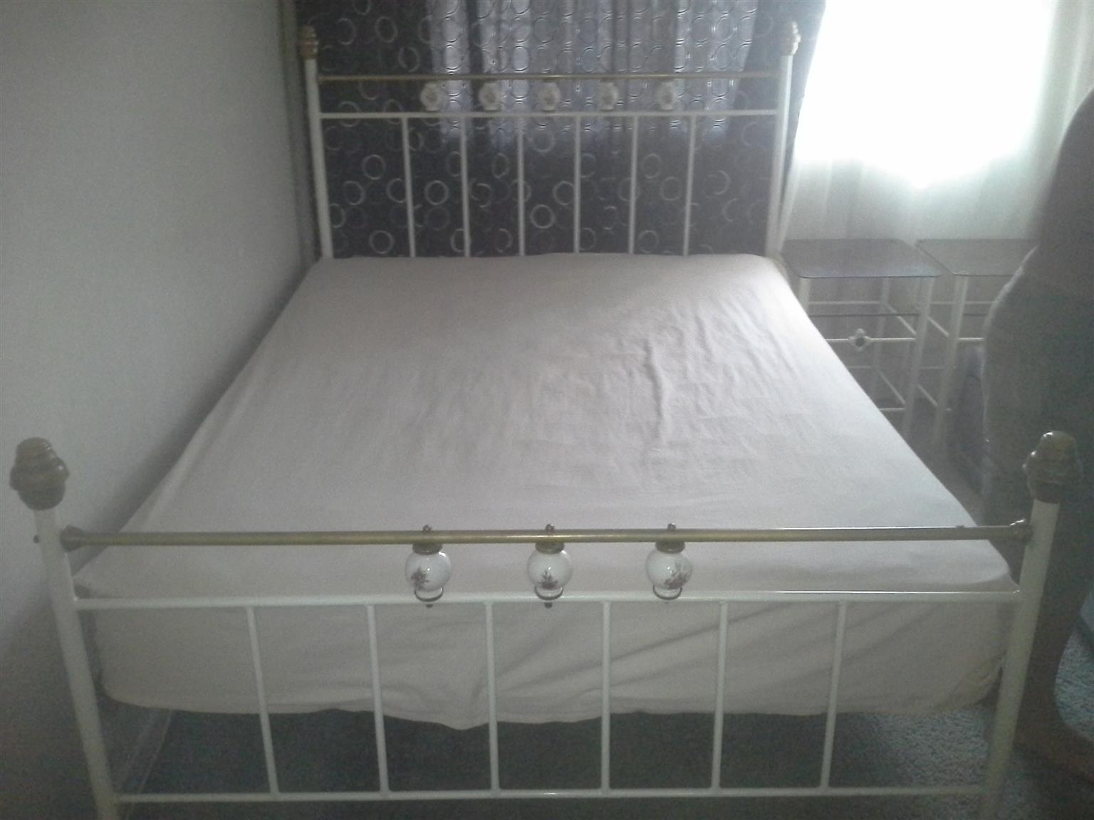 Antique white and brass bed for sale