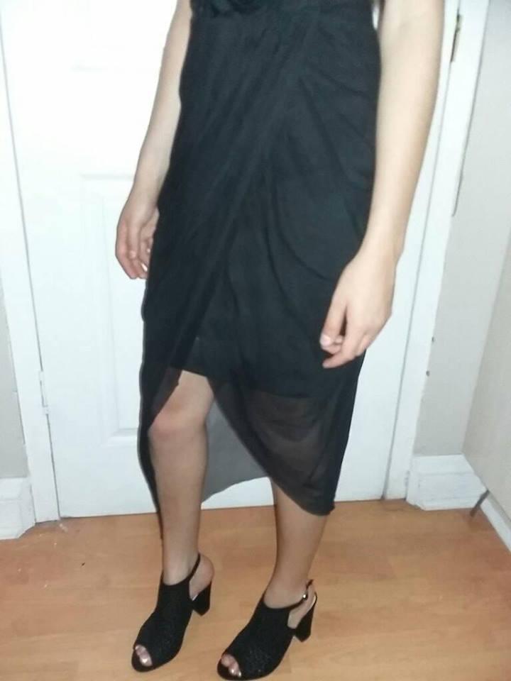 Size 32 black hi-lo lace dress.