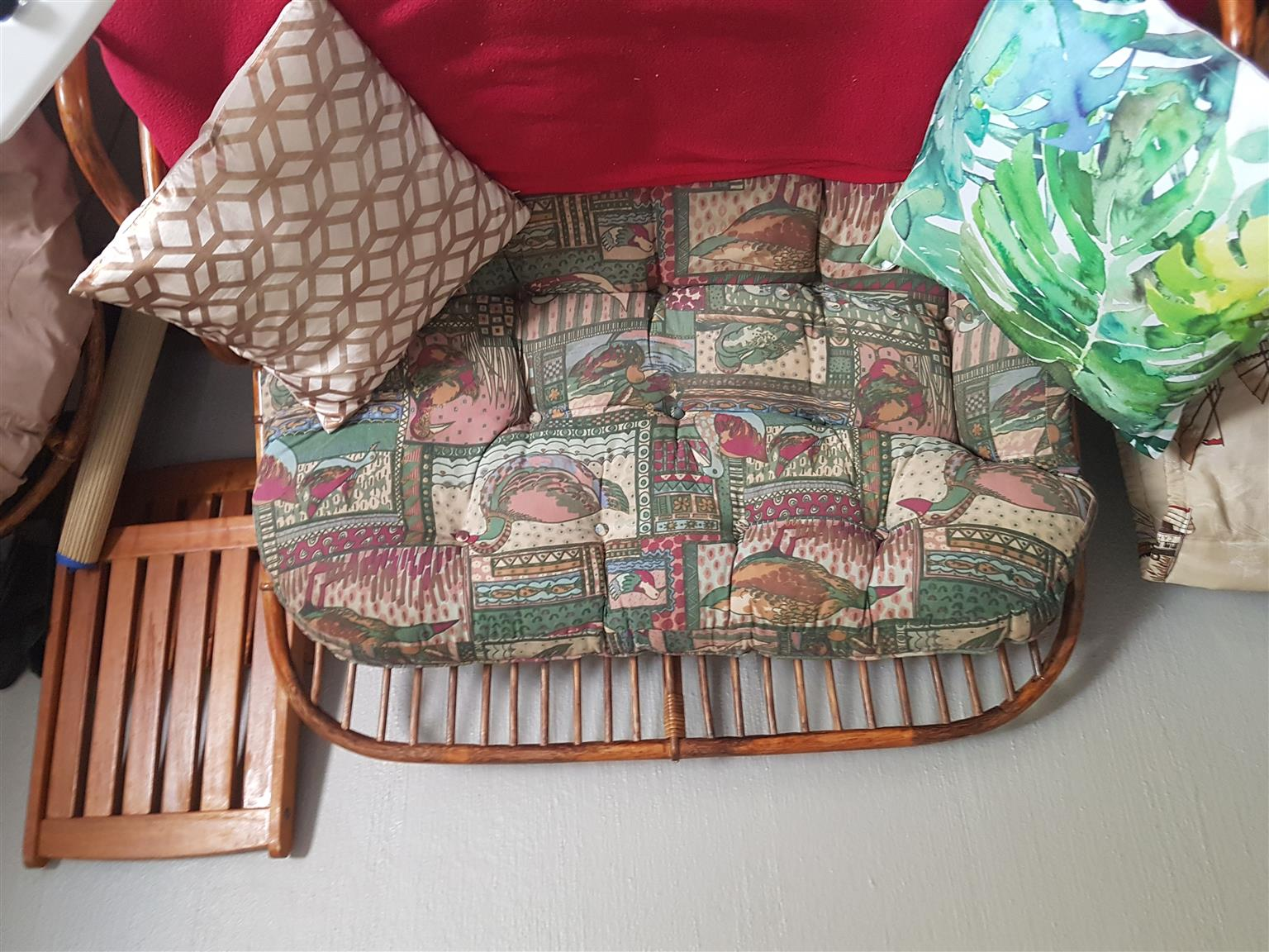 Cane lounge suite pled two seater