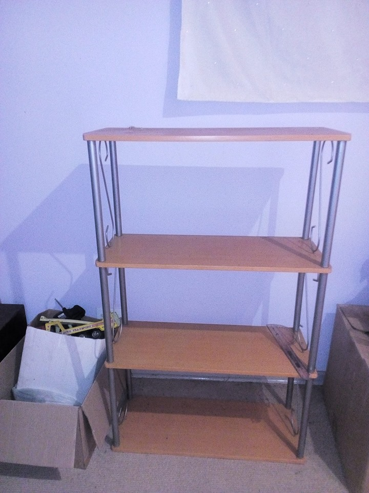 Wooden shelf with silver frame