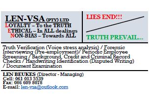 Lie detection, Fraud Investigation, screening and more.