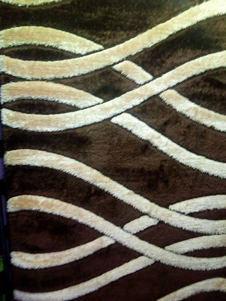 Brown carpet with white stripes